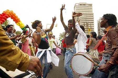 Participants take part in a gay pride march in New Delhi