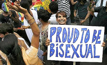 Gay rights activists dance at 'Queer Pride March' in New Delhi