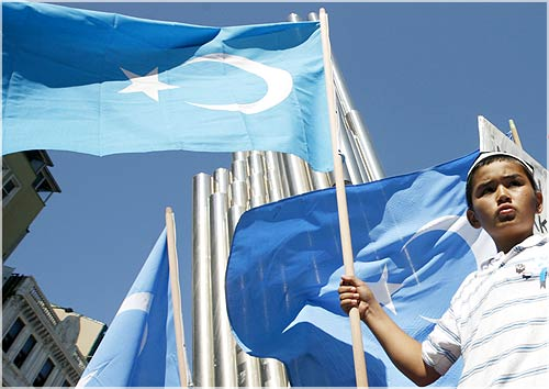 A boy holds an eastern Turkestan flag during a demonstration in Istanbul, to protest against the deadly riot in China's northwestern region of Xinjiang