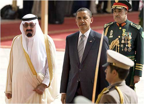 US President Barack Obama  is welcomed to the Kingdom of Saudi Arabia by King Abdullah
