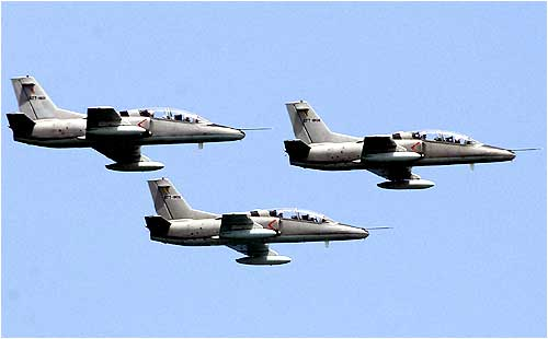 Sri Lanka Air Force Hongdu JL-8 jets in action in Colombo.