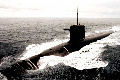 A French nuclear missile submarine sails in the Atlantic Ocean