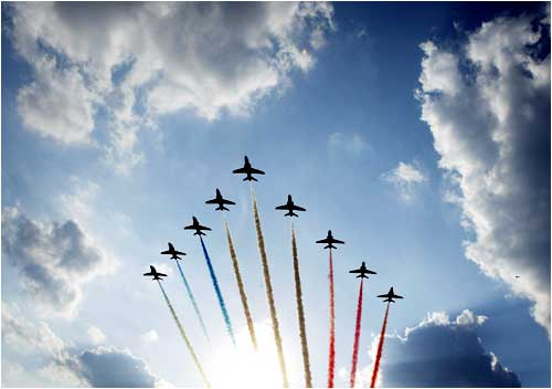 Royal Air Force jets perform an aerial display