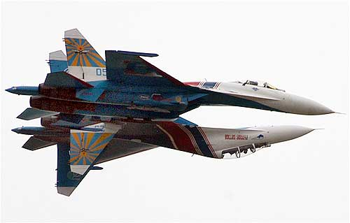 Russian fighter jets perform during an aerobatics show