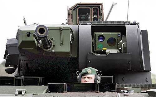 A soldier looks out from a new German Armoured Infantry Fighting Vehicle AIFV Puma for the German armed forces during an exercise