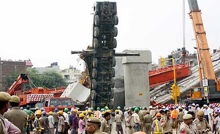 The toppled crane at the Delhi Metro mishap site.