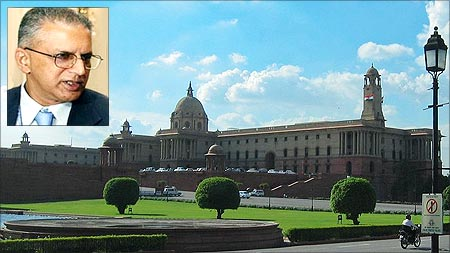 North Block in New Delhi which houses the home ministry. (Inset) Home Secretary Gopal Krishna Pillai