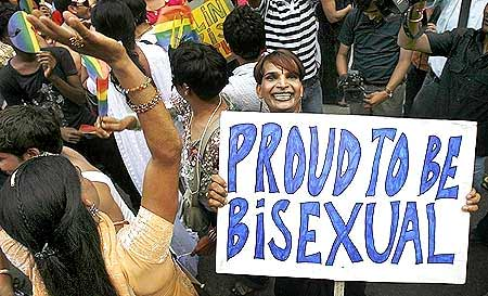 Gay rights activists dance at the Queer Pride March in New Delhi