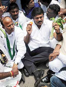 Chiranjeevi protesting outside Chief Rationing Officer's office