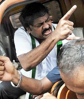 Chiranjeevi being taken away from the protest site