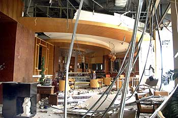 A view of the damage to a restaurant in the Ritz-Carlton hotel after an explosion in Jakarta
