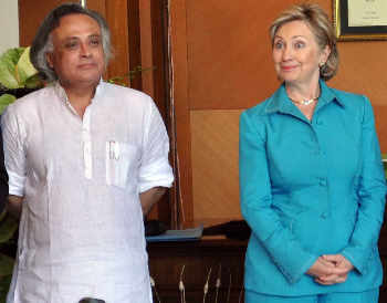 US Secretary of State Hillary Clinton with Minister for Forest and Environment Jairam Ramesh during a conference on climate change in Gurgaon on Sunday