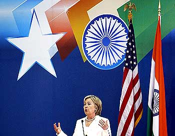 US Secretary of State Hillary Clinton addresses students at the Delhi University