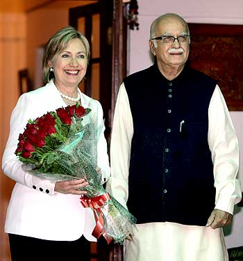 US Secretary of State Hillary Clinton with BJP leader L K Advani