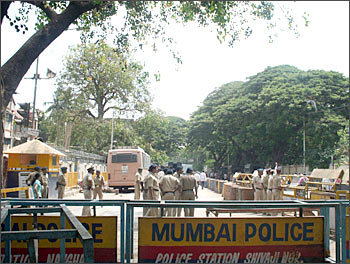 Security outside the court-room at Arthur Road Jail, Mumbai