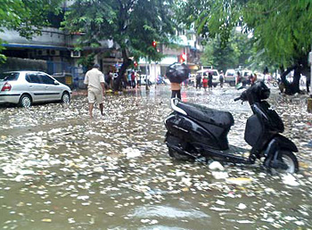 Some streets were flooded in Shivaji Park