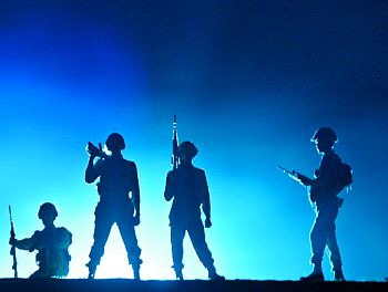 Indian army soldiers take part in a light and sound performance as they re-enact a war with Pakistan during