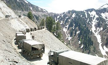 A convoy of army trucks on its way to Kargil