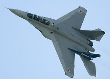 A MIG-35 fighter plane performs during the international air show near Moscow