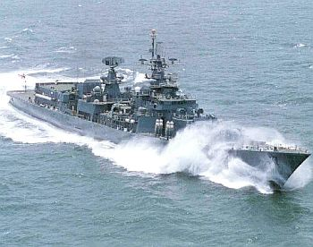 INS Delhi in action