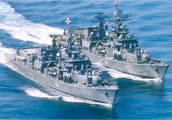 INS Delhi and INS Mysore sail together