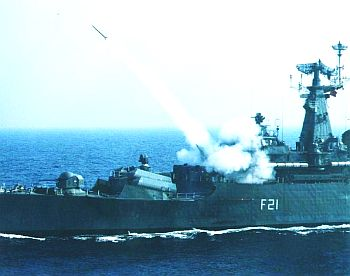 INS Gomati fires a missile during a training exercise