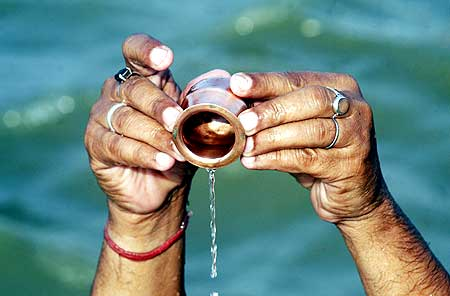 A devotee prays after taking a dip in the Sangam