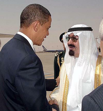 Saudi King Abdullah greets US President Barack Obama