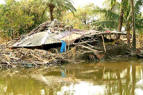 A house destroyed by Cyclone Aila at Borotushkhali in Sunderbans