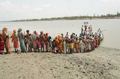 Villagers queue up for drinking water at Khulna in Sunderbans