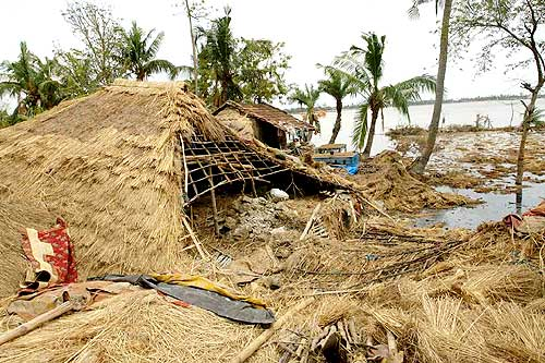 A house destroyed by Cyclone Aila in Korakhati, Sunderbans