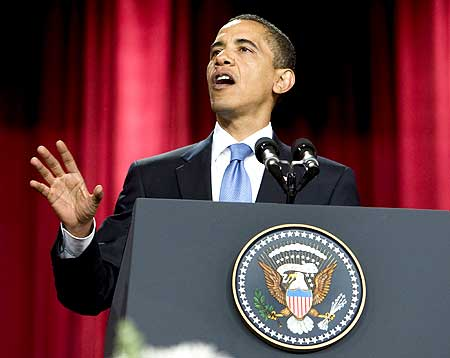 US President Barack Obama delivers a speech in the Grand Hall of Cairo University on Thursday