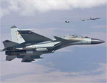 An SU-30MKI fighter jet in action