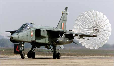 A Jaguar lands at the Ambala air base