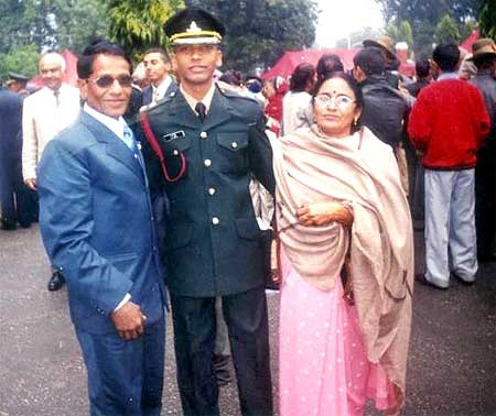 A K Singh with his parents at the passing out parade at the Indian Military Academy, Dehra Dun