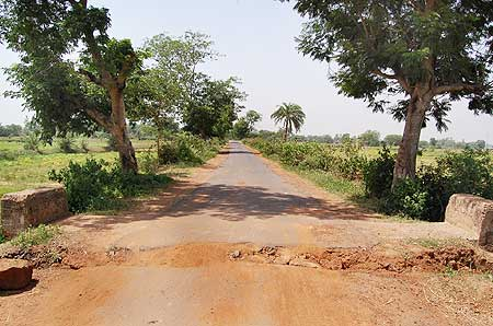 A road dug up by Maoists to delay security peronnel's movement