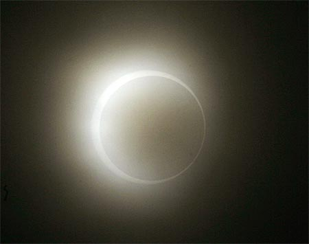 The moon passes between the sun and the earth during an annular solar eclipse