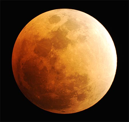 The moon is seen, during a phase of a total lunar eclipse.