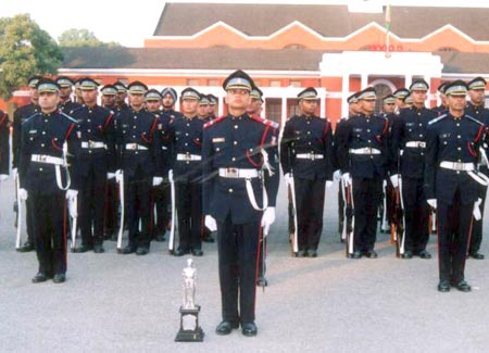 A K Singh, centre, at the Indian Military Academy, Dehra Dun