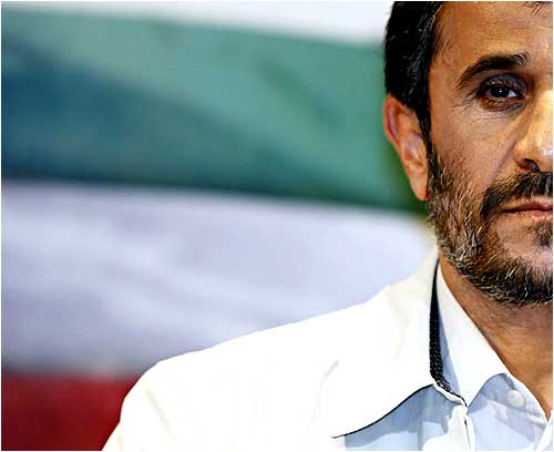 President Mahmoud Ahmadinejad looks on during his first news conference after the presidential elections