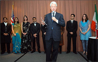 Former President Clinton speaking on South Asia