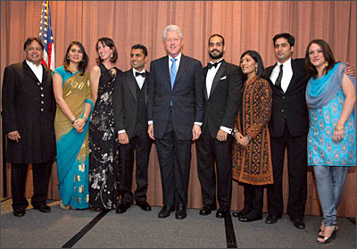 The William J Clinton Fellowship for service in India. From Left, Sridar Iyengar, Jeena Shah, Ann Levy, Sanjay Sharma, Bill Clinton, Larry Beh, Ajaita Shah, Vikas Shah, Yael Gottlieb