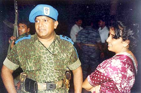 Prabhakaran with wife Mathivathani