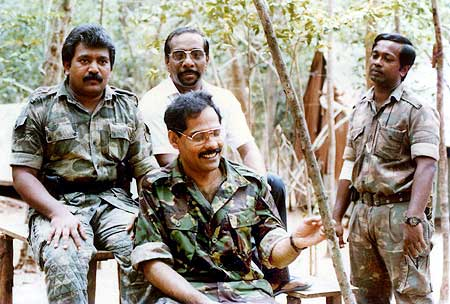 Prabhakaran (Left) with other LTTE members