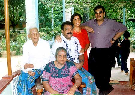 Prabhakaran with his wife Mathivathani, son Charles Anthony and parents