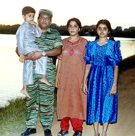LTTE leader Prabhakaran with wife Mathivathani, son Balachandran and daughter Duwaraka