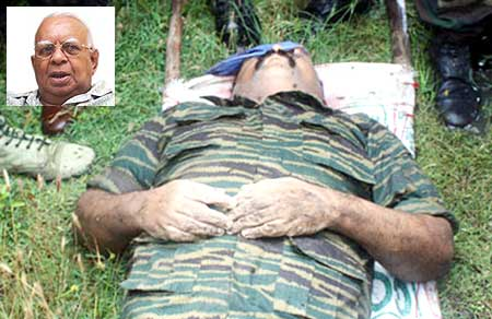 A photograph released by the Sri Lankan military shows the body of LTTE chief Vellupillai Prabhakaran. (Inset) R Sambandhan