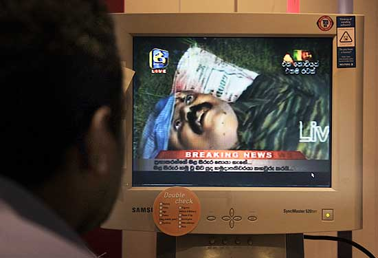 A TV grab of Prabhakaran's body.