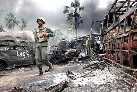 Troops in the the war zone near Mullaittivu
