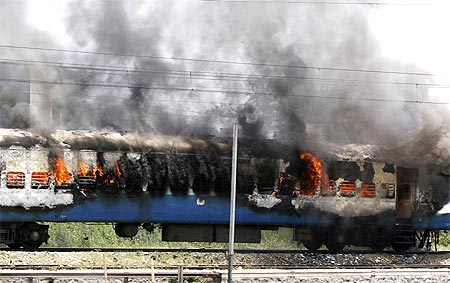 A passenger train was torched by protestors in Jalandhar